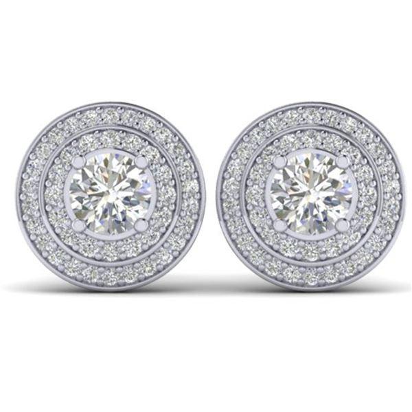 1.45 ctw VS/SI Diamond Art Deco Halo Stud Earrings 14k White Gold - REF-126K2Y