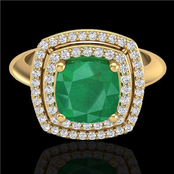 2.52 ctw Emerald & Micro VS/SI Diamond Pave Ring 18k Yellow Gold - REF-55A2N