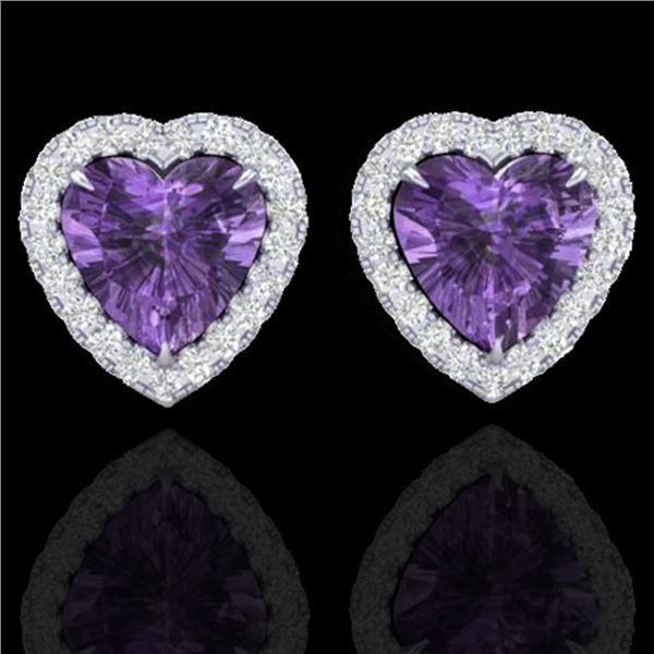 2 ctw Amethyst & Micro Pave VS/SI Diamond Earrings Heart 14k White Gold - REF-38X2A