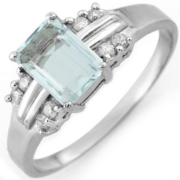 1.41 ctw Aquamarine & Diamond Ring 10k White Gold - REF-22Y8X