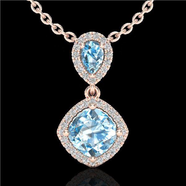3.50 ctw Sky Blue Topaz & Micro VS/SI Diamond Necklace 10k Rose Gold - REF-33K8Y