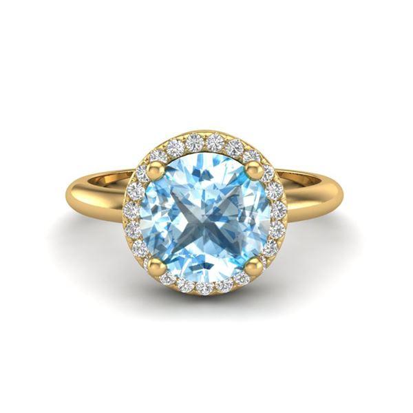2.70 ctw Sky Blue Topaz & Micro VS/SI Diamond Ring 18k Yellow Gold - REF-38G2W
