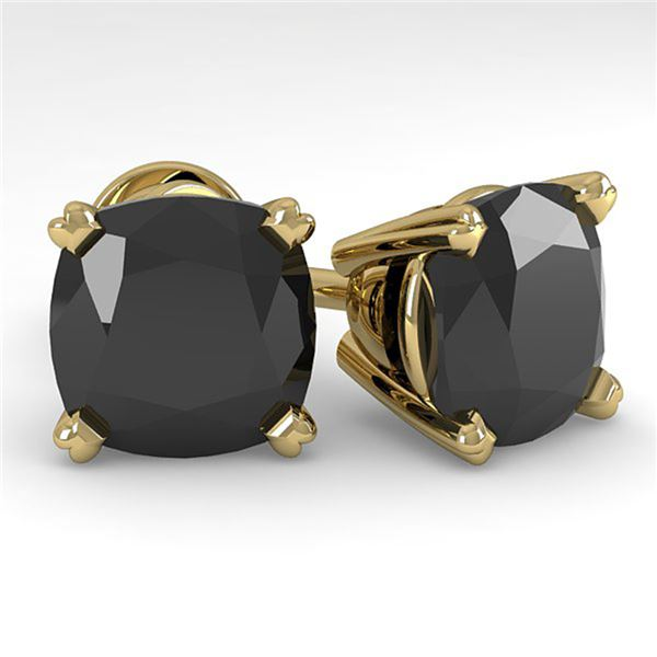 6 ctw Cushion Black Diamond Stud Designer Earrings 18k Yellow Gold - REF-121W2H