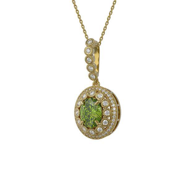 4.22 ctw Tourmaline & Diamond Victorian Necklace 14K Yellow Gold - REF-134X2A