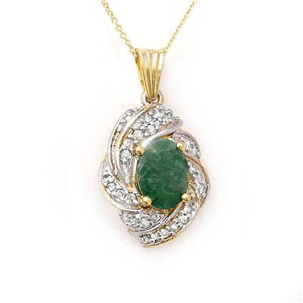 3.17 ctw Emerald & Diamond Pendant 14k Yellow Gold - REF-81A8N