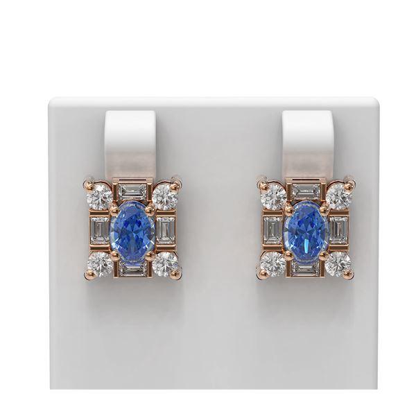3.64 ctw Tanzanite & Diamond Earrings 18K Rose Gold - REF-178W2H