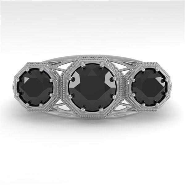 2 ctw Past Present Future Black Diamond Ring Art Deco 18k White Gold - REF-90F4M