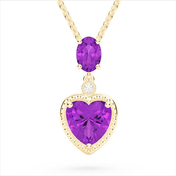 4 ctw Amethyst & VS/SI Diamond Designer Heart Necklace 10k Yellow Gold - REF-21G3W