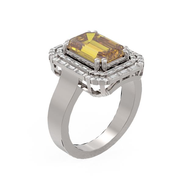 5.24 ctw Canary Citrine & Diamond Ring 18K White Gold - REF-159A3N