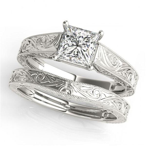 0.50 ctw VS/SI Princess Diamond 2pc Wedding Set 14k White Gold - REF-98X2A
