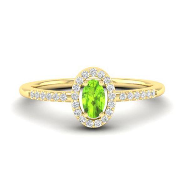 0.50 ctw Peridot & Micro Pave VS/SI Diamond Ring 18k Yellow Gold - REF-25X3A