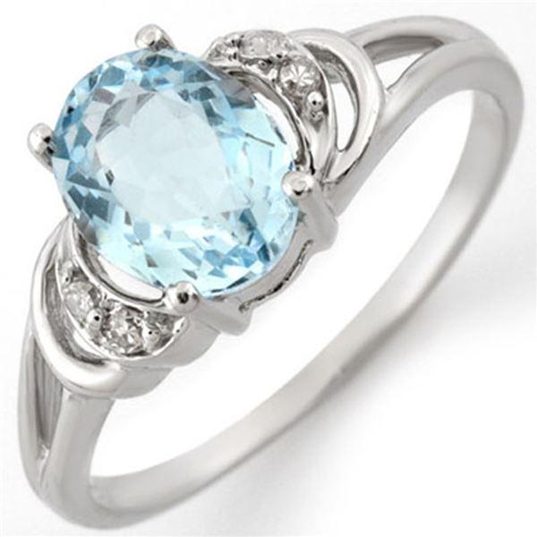 1.56 ctw Aquamarine & Diamond Ring 14k White Gold - REF-18Y2X
