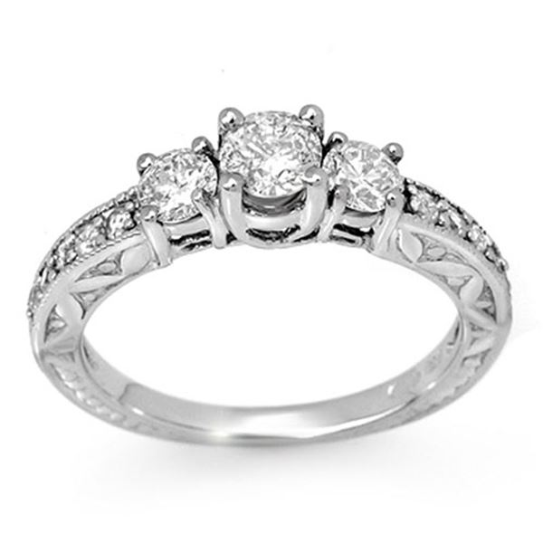 0.95 ctw Certified VS/SI Diamond Ring 10k White Gold - REF-104X5A