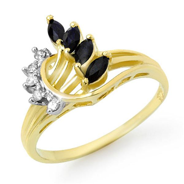 0.55 ctw Blue Sapphire & Diamond Ring 10k Yellow Gold - REF-15R2K