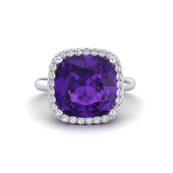 6 ctw Amethyst & Micro Pave Halo VS/SI Diamond Ring 18k White Gold - REF-44A2N