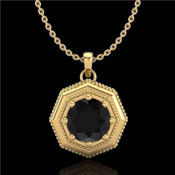 0.75 ctw Fancy Black Diamond Art Deco Stud Necklace 18k Yellow Gold - REF-40G9W