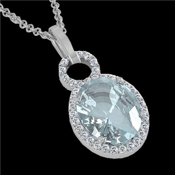 3 ctw Aquamarine & Micro Pave VS/SI Diamond Necklace 14k White Gold - REF-47F9M