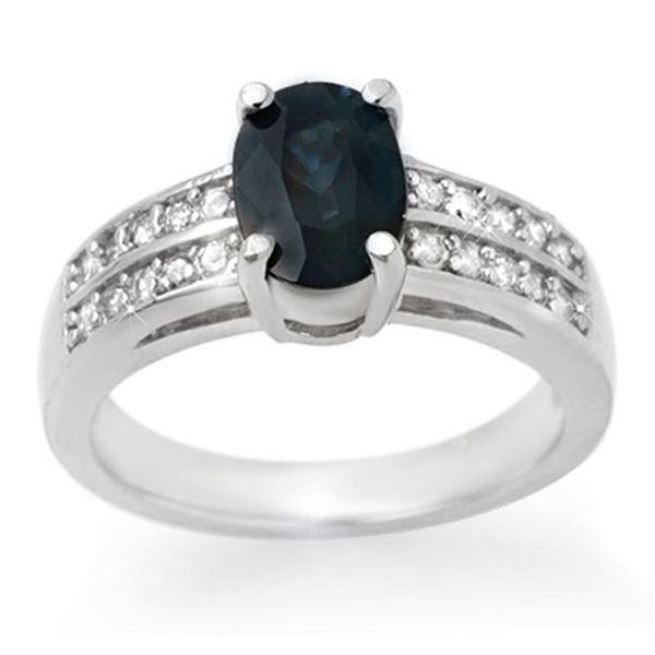 3.19 ctw Blue Sapphire & Diamond Ring 14k White Gold - REF-46Y2X