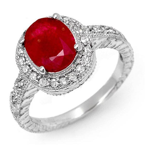 2.50 ctw Ruby & Diamond Ring 14k White Gold - REF-55X2A