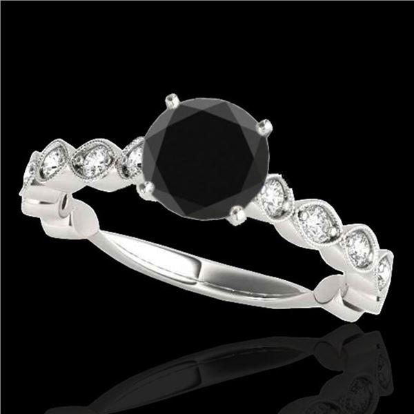 1.75 ctw Certified VS Black Diamond Solitaire Ring 10k White Gold - REF-51G5W