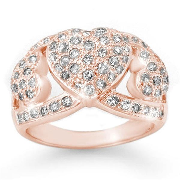 1.50 ctw Certified VS/SI Diamond Ring 14k Rose Gold - REF-128F9M