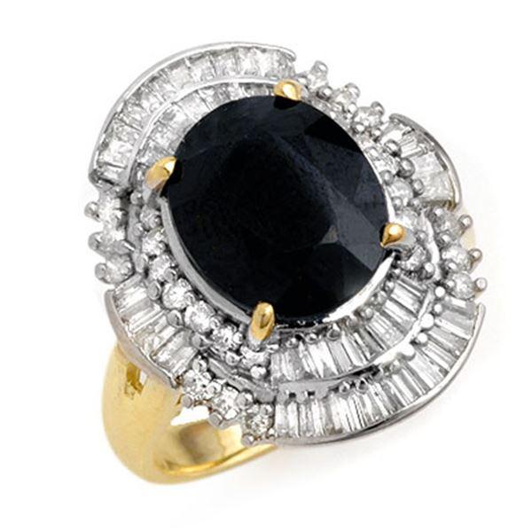 5.95 ctw Blue Sapphire & Diamond Ring 14k Yellow Gold - REF-131H3R