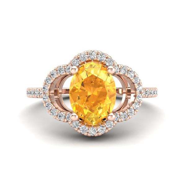 1.75 ctw Citrine & Micro Pave VS/SI Diamond Certified Ring 10k Rose Gold - REF-30W8H