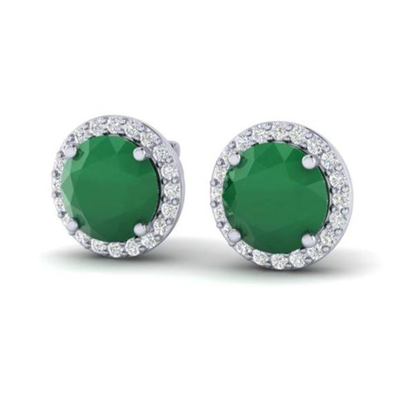 4 ctw Emerald & Halo VS/SI Diamond Micro Pave Earrings 18k White Gold - REF-55H8R