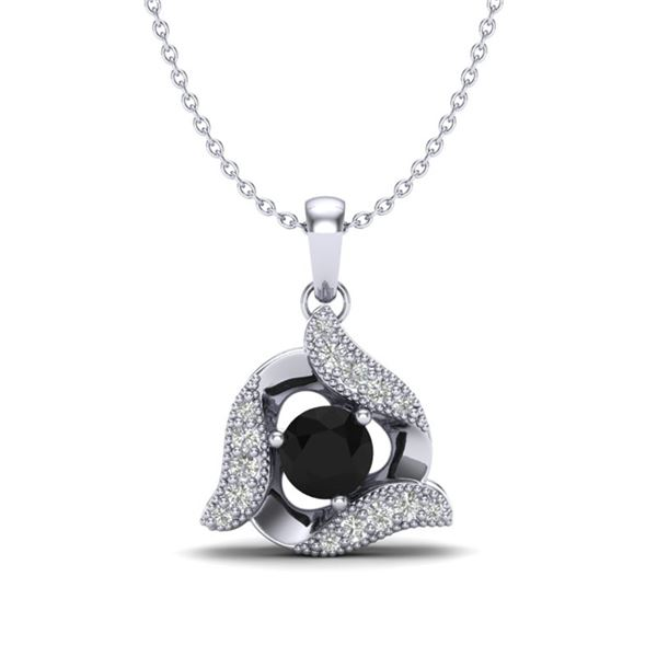 0.46 ctw Black & Micro Pave VS/SI Diamond Necklace 18k White Gold - REF-28F2M