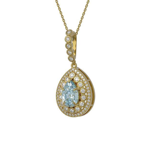 3.77 ctw Aquamarine & Diamond Victorian Necklace 14K Yellow Gold - REF-160H2R