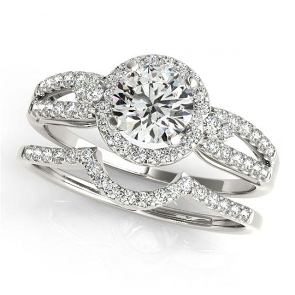 0.86 ctw Certified VS/SI Diamond 2pc Wedding Set Halo 14k White Gold - REF-91F9M