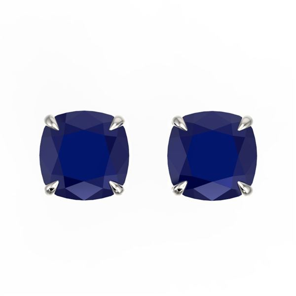 4 ctw Cushion Cut Sapphire Designer Stud Earrings 18k White Gold - REF-30A2N