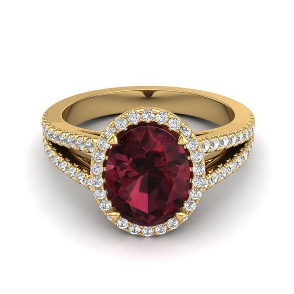3 ctw Garnet & Micro VS/SI Diamond Certified Halo Ring 18k Yellow Gold - REF-52K3Y