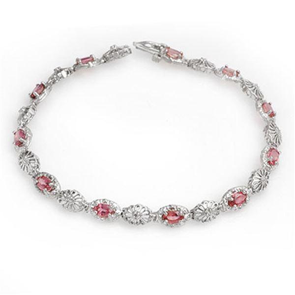 3.83 ctw Red Sapphire & Diamond Bracelet 10k White Gold - REF-45Y3X