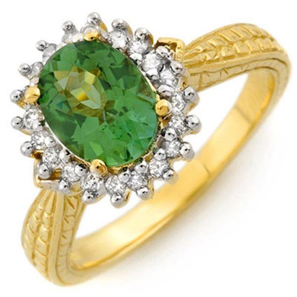 2.75 ctw Green Tourmaline & Diamond Ring 10k Yellow Gold - REF-40A6N