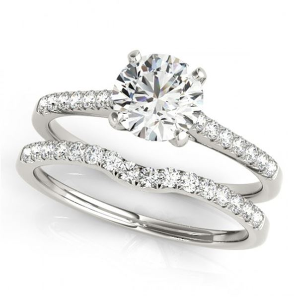 0.85 ctw Certified VS/SI Diamond 2pc Wedding Set 14k White Gold - REF-94X6A