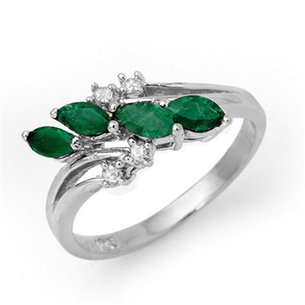 0.40 ctw Emerald & Diamond Ring 18k White Gold - REF-28R8K