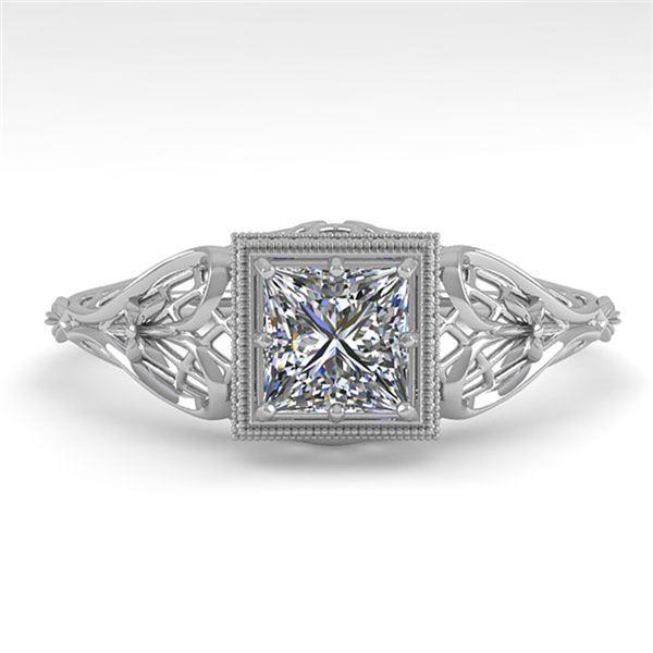 0.50 ctw VS/SI Princess Diamond Engagment Ring Art Deco 18k White Gold - REF-113A8N