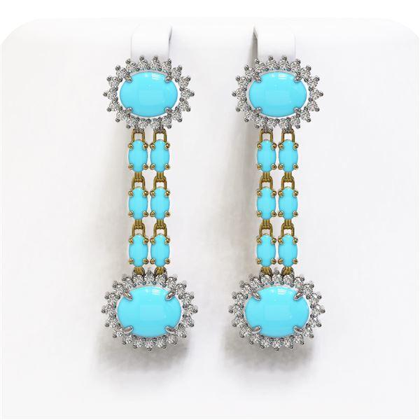 9.94 ctw Turquoise & Diamond Earrings 14K Yellow Gold - REF-172W5H