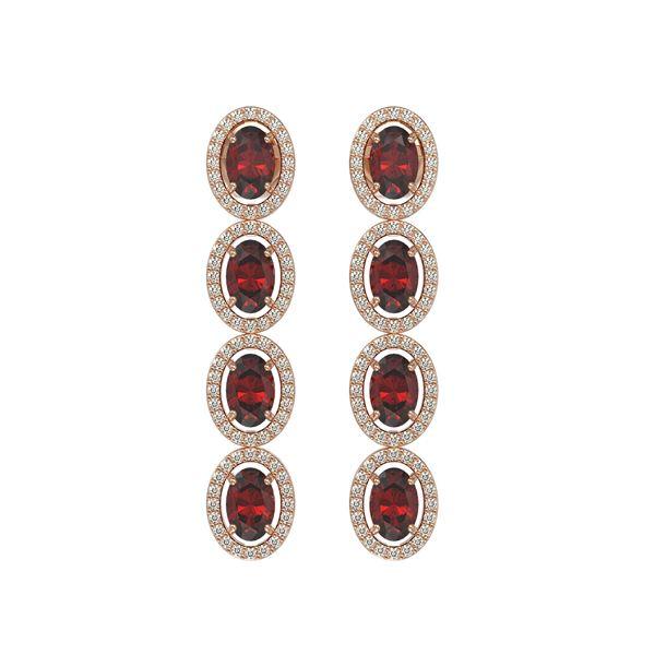 6.2 ctw Garnet & Diamond Micro Pave Halo Earrings 10k Rose Gold - REF-143M6G