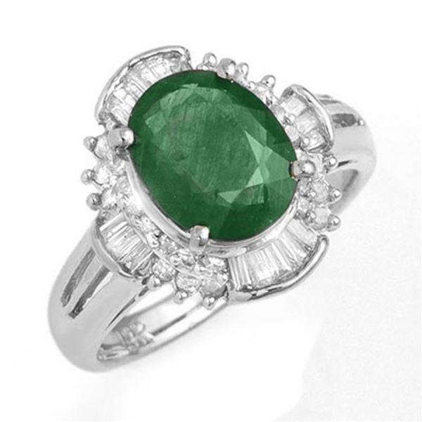 3.08 ctw Emerald & Diamond Ring 18k White Gold - REF-96A8N