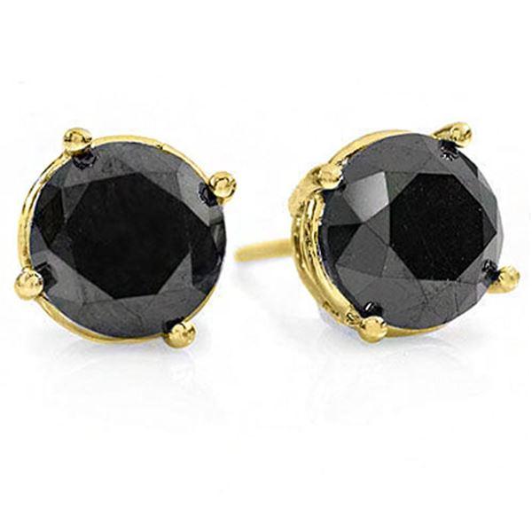 3.0 ctw VS Certified Black Diamond Solitaire Stud Earrings 14k Yellow Gold - REF-47R9K