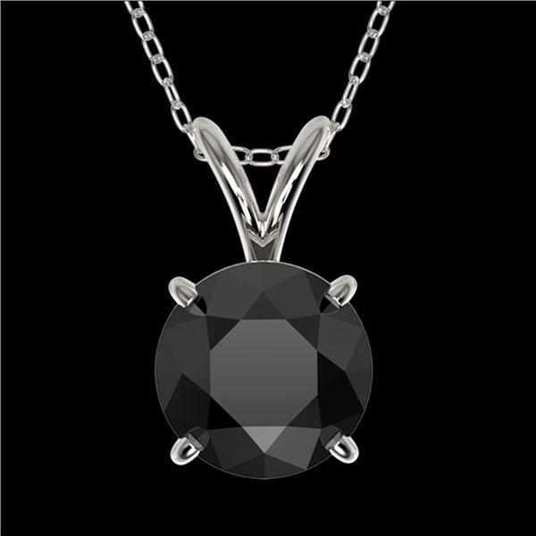 1.25 ctw Fancy Black Diamond Solitaire Necklace 10k White Gold - REF-31H9R