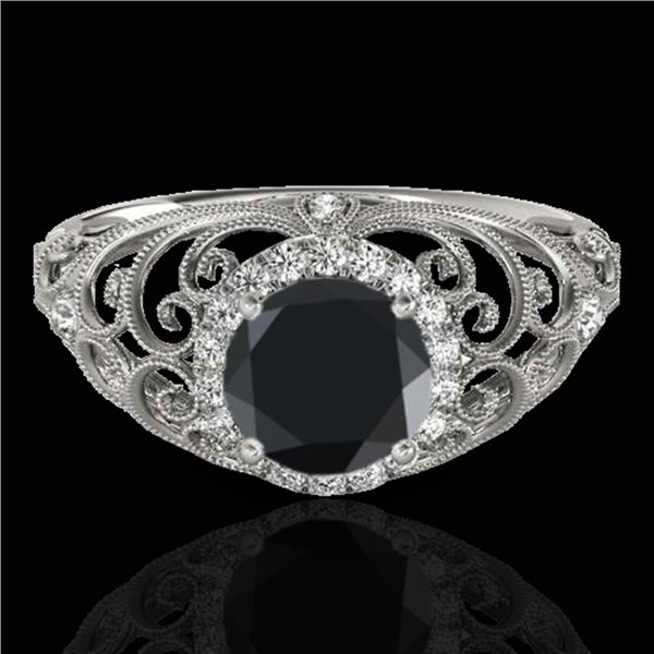1.22 ctw Certified VS Black Diamond Solitaire Halo Ring 10k White Gold - REF-49H9R