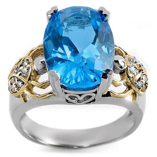 8.20 ctw Blue Topaz & Diamond Ring 10K 2-Tone 10k 2-Tone Gold - REF-40G9W