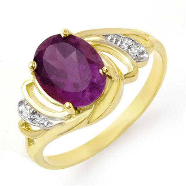 1.48 ctw Amethyst & Diamond Ring 10k Yellow Gold - REF-15N2F