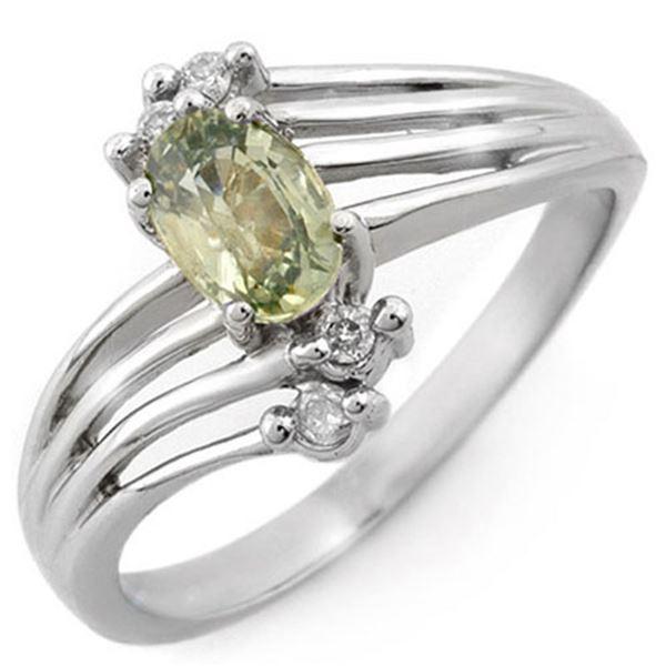 0.80 ctw Green Sapphire & Diamond Ring 10k White Gold - REF-16G2W