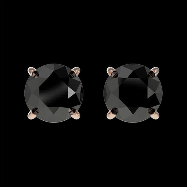 1.11 ctw Fancy Black Diamond Solitaire Stud Earrings 10k Rose Gold - REF-22K2Y