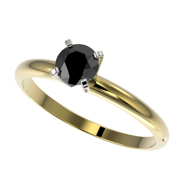 0.50 ctw Fancy Black Diamond Solitaire Engagment Ring 10k Yellow Gold - REF-19A2N