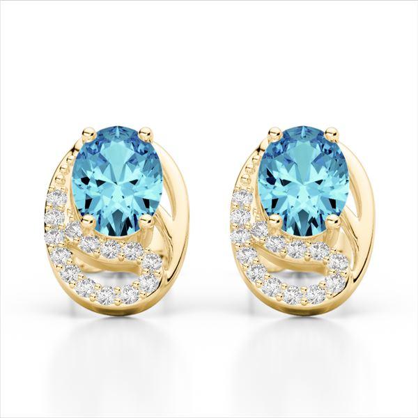 2.50 Sky Blue Topaz & Micro Pave VS/SI Diamond Earrings 10k Yellow Gold - REF-25R9K